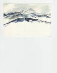 watercolor of Pyrenees mountains