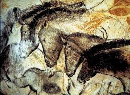 Drawings of horses on cave walls.
